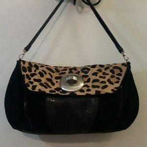 NWOT Vince Camuto black & leopard print purse